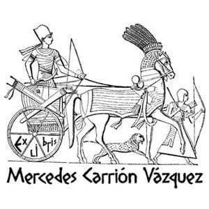 Sello ex libris faraón cazando