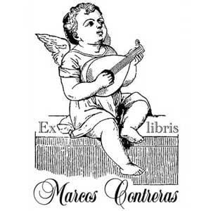 Sello ex libris angel tocando el laud