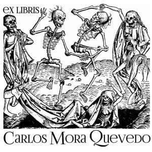 Sello ex libris La danza de los Muertos