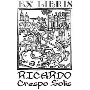 Sello de caucho ex libris San Jorge y el Dragón