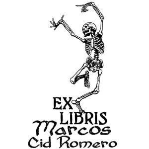 Sello ex libris Danza Esqueleto
