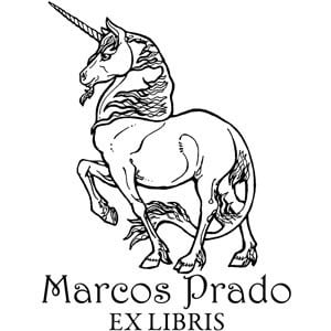 Sello ex libris Unicornio