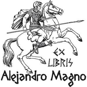 Sello ex libris Alejandro Magno