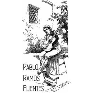 Sello ex libris Guitarrista Flamenco