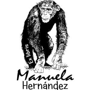 Sello ex libris mono chimpancé