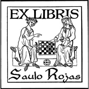 Sello ex libris Ajedrez medieval