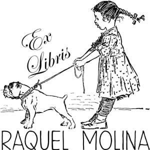 Sello ex libris Paseando al perro