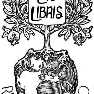 Sello ex libris Leyendo Arbol tierra