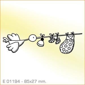 Sellos Aladine Cigüeña con ropita de bebé E-01194