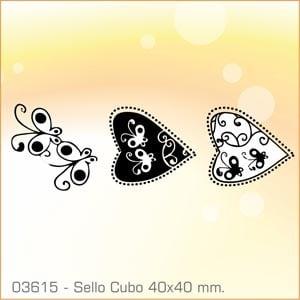 Sellos Cubo Corazones de Mariposas 03615