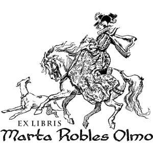 Sello ex libris Dama paseando a caballo