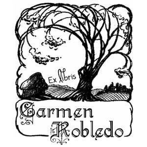 Sello ex libris Árbol en la pradera