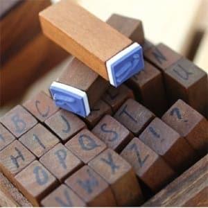 Caja sellos abecedario handwriting