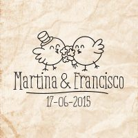 Sello boda Pájaros enamorados