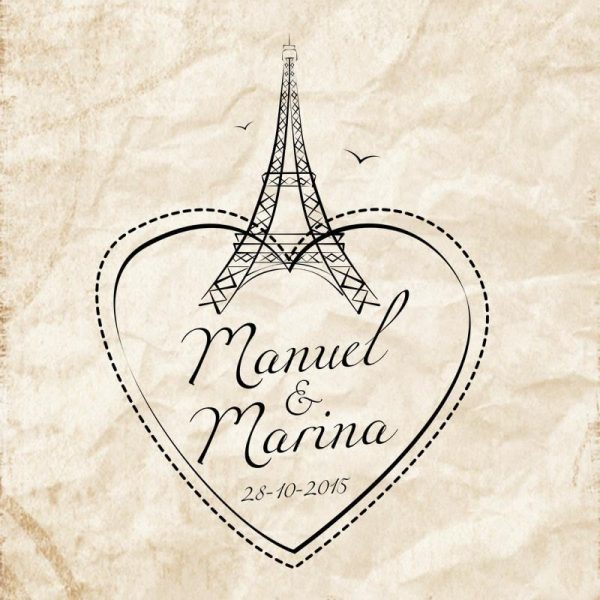 Sellos boda Eiffel Corazón