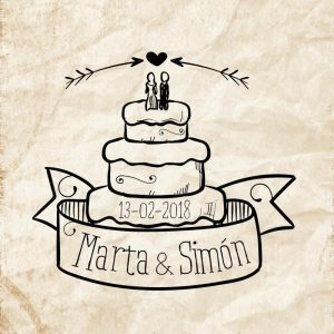 Sellos boda tarta novios